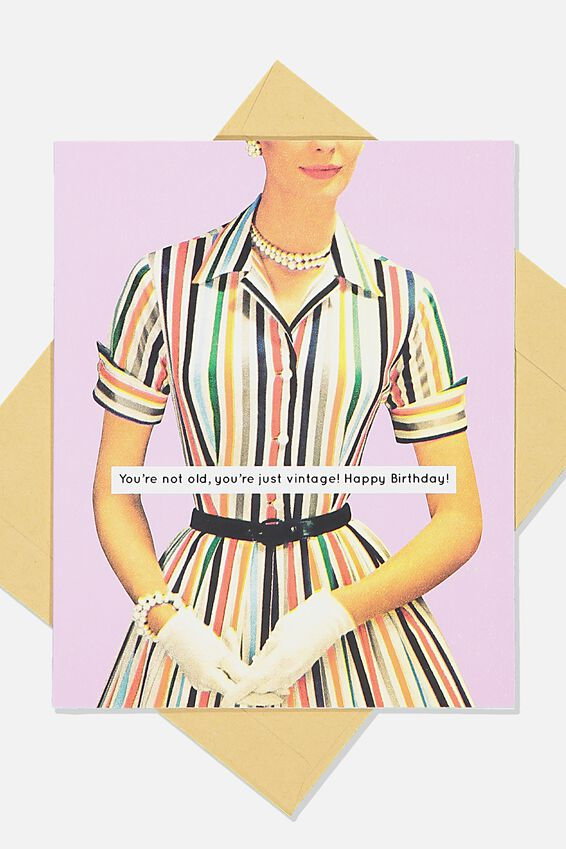 Funny Birthday Card, RETRO VINTAGE DRESS