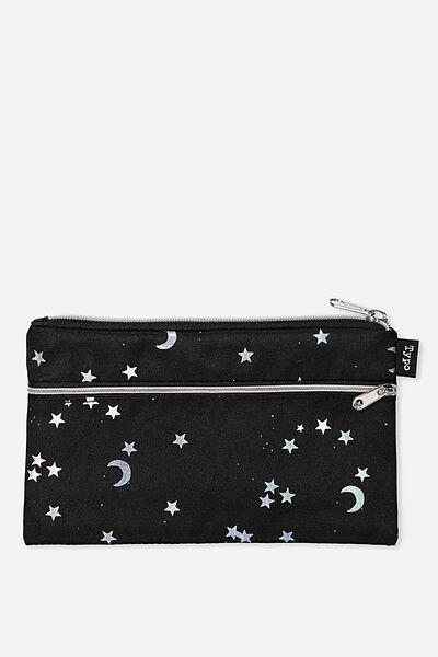 Archer Pencil Case, BLACK STARS & MOON