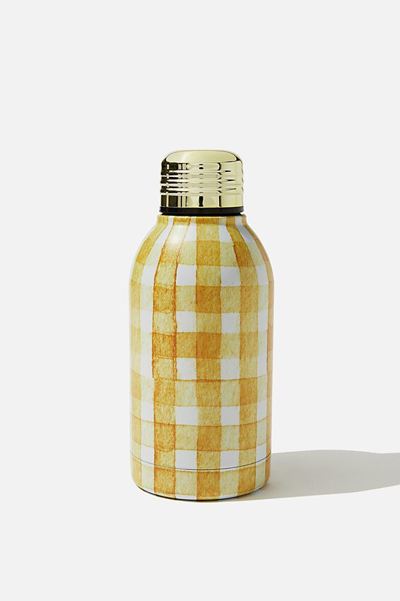Mini Metal Drink Bottle, MUSTARD GINGHAM