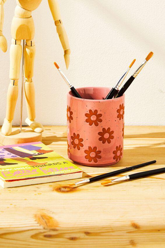 Pen Holder, FLOWER DEBOSS PINK
