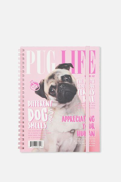 A5 Spinout Notebook - 120 Pages, PUG LIFE MAG PINK