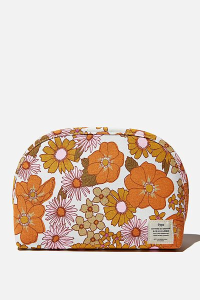 Canvas Essential Pouch, ORANGE & PINK STEVIE FLORAL