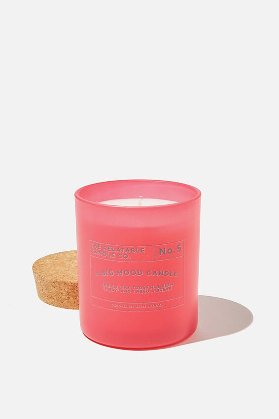 Relatable Quote Candle, MAGENTA BIG MOOD CANDLE