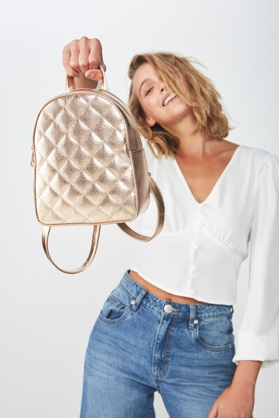 Mini Arch Backpack, QUILTED ROSE GOLD