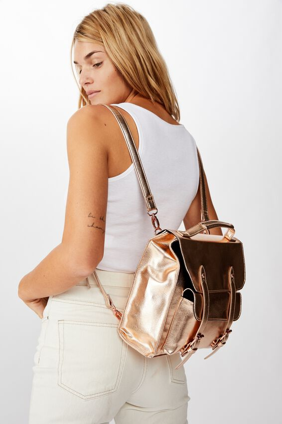 Buffalo Satchel Backpack, ROSE GOLD