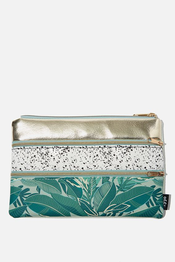 Double Archer Pencil Case, BONDI FOLIAGE