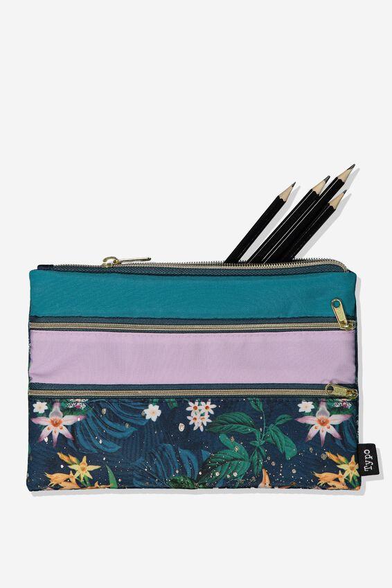 Double Archer Pencil Case, JUNGLE FLORAL