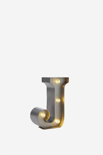 Mini Marquee Letter Lights 10cm, SILVER J