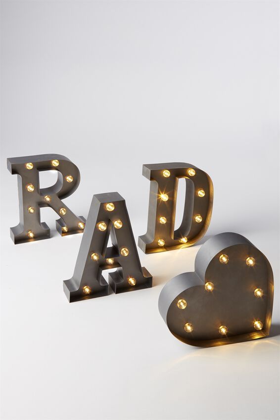 Small Marquee Letter Lights 23cm, SILVER V