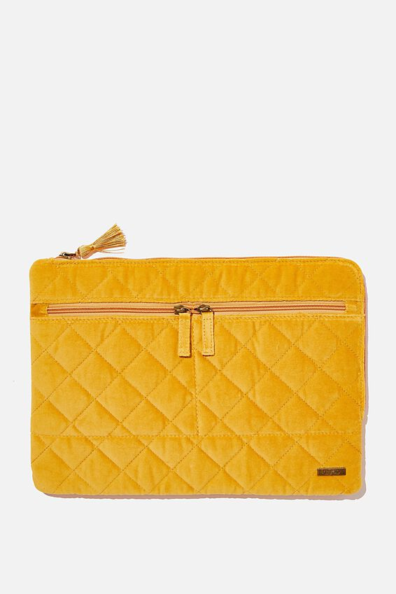 Velvet Oxford 13 Inch Laptop Case, QUILTED MUSTARD