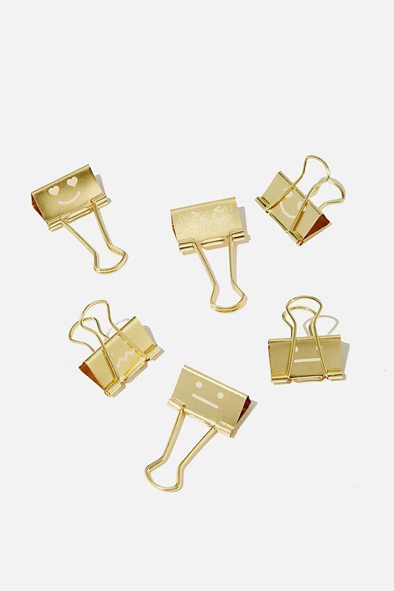 Bulldog Clip Pk 6, GOLD FACES