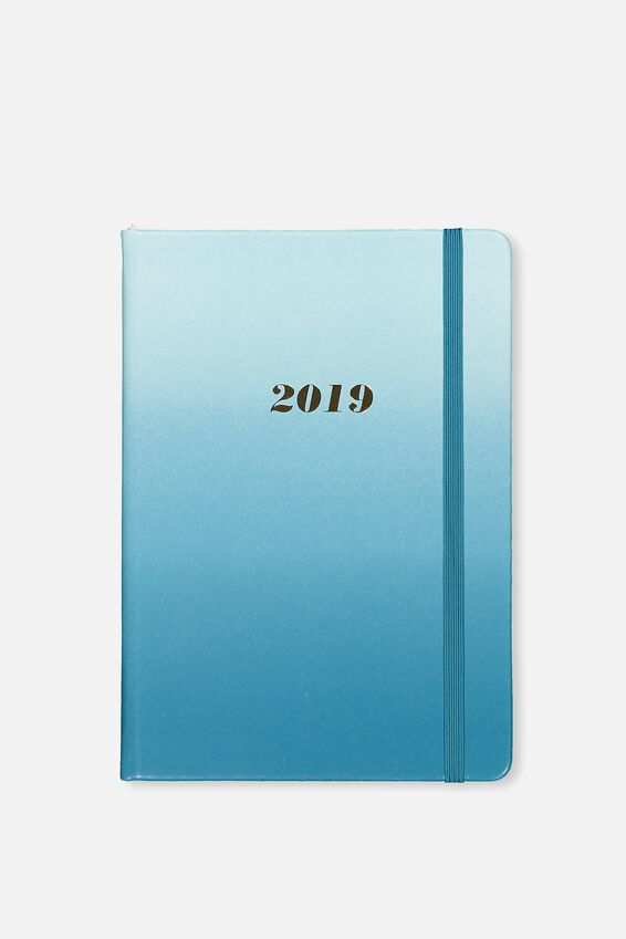2019 A5 Weekly Buffalo Diary, TEAL OMBRE