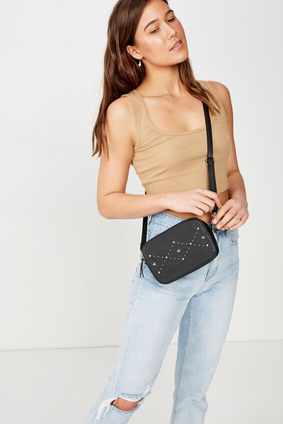 City X-Body Bag, BLACK WITH STAR PATTERN