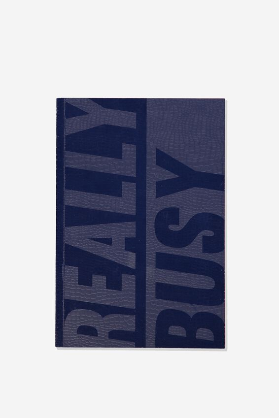 A5 Textured Notebook, BLUE REALLY BUSY