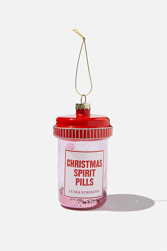 Glass Christmas Ornament, CHRISTMAS SPIRIT PILLS