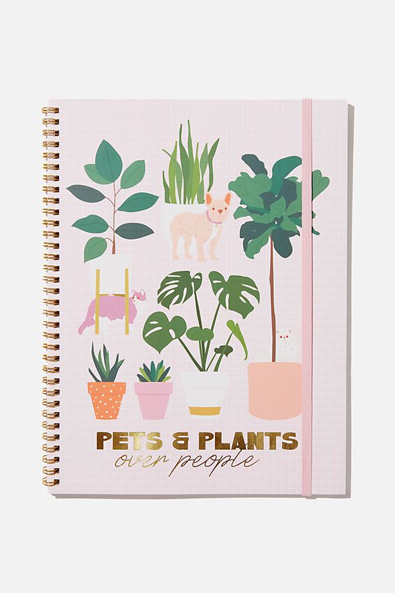 A4 Spinout Notebook Recycled, PETS & PLANTS
