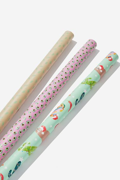 2019 Christmas Roll Wrap 3Pk, FESTIVE ICONS