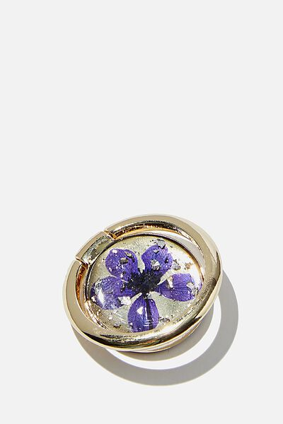 Metal Phone Ring, BLUE FLOWER FOIL