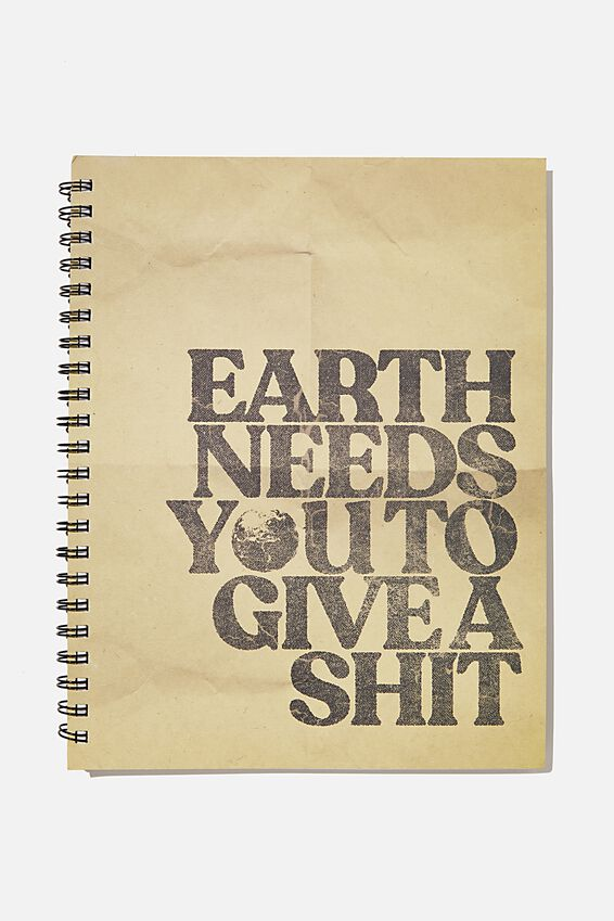 A4 Campus Notebook Recycled, EARTH NEEDS YOU TO GIVE A SHIT!