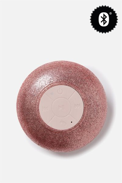 Waterproof Bluetooth Shower Speaker, ROSE GOLD GLITTER