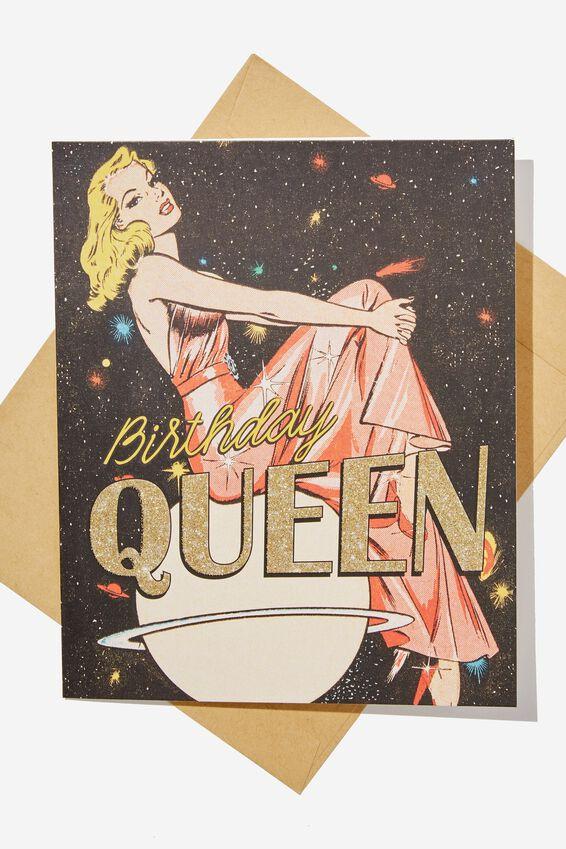 Funny Birthday Card, RETRO GLITTER QUEEN
