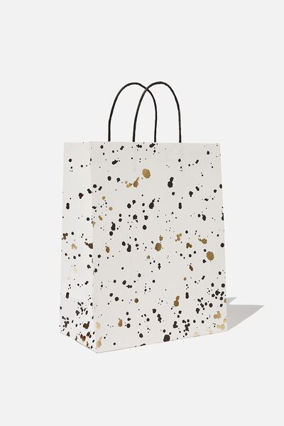 Get Stuffed Gift Bag - Medium, WHITE GOLD SPLATTER