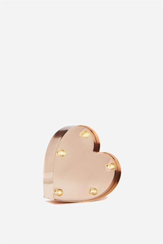 Mini Marquee Letter Lights 10cm, ROSE GOLD HEART