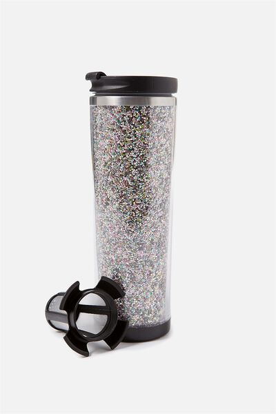 Tea-Riffic Travel Mug, PASTEL GLITTER