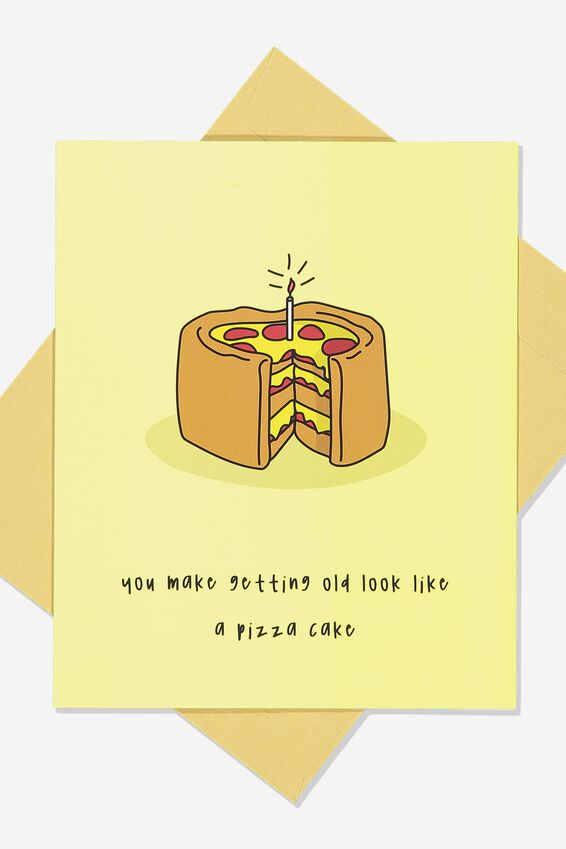 Premium Funny Birthday Card, PIZZA CAKE