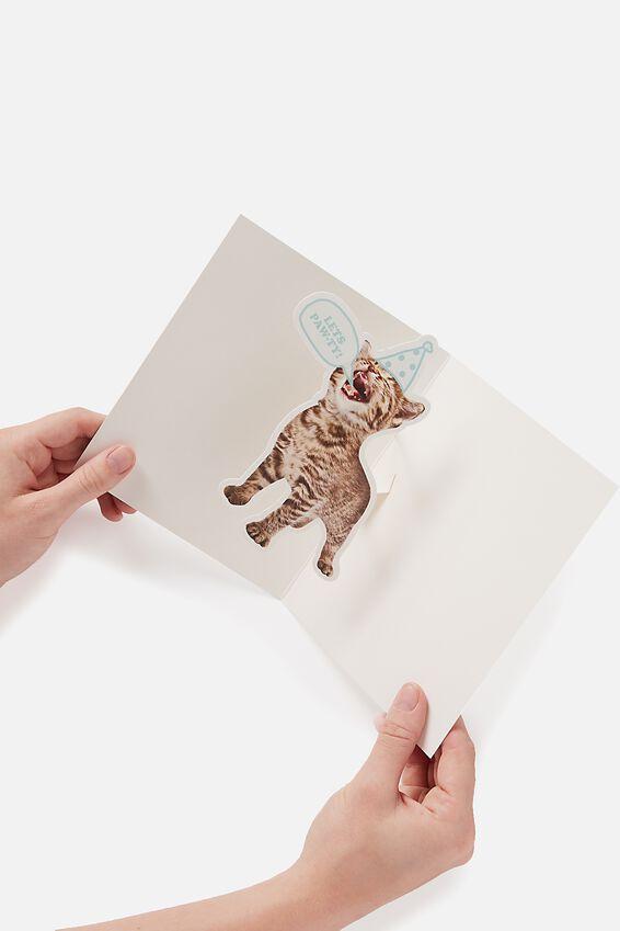Premium Funny Birthday Card, POP UP KITTY