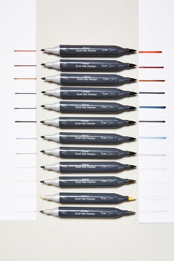 Artists Dual Nib Marker 12Pk, NEUTRAL BRUSH