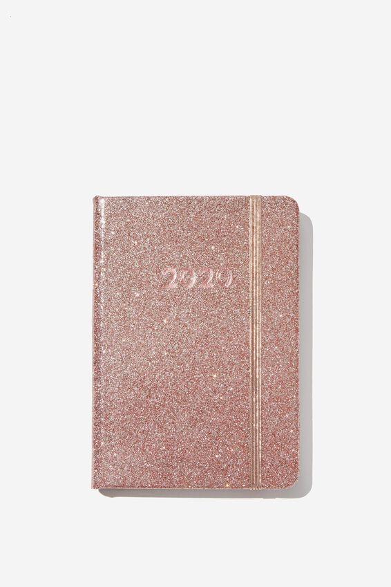 2020 A6 Weekly Buffalo Diary, ROSE GOLD GLITTER