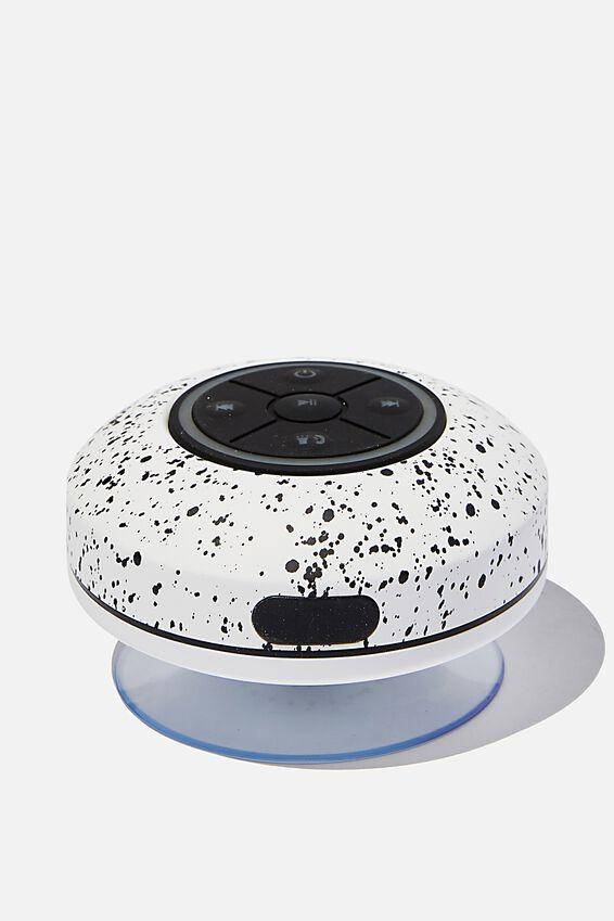 Wireless Led Shower Speaker, BLACK & WHITE SPLATTER 2.0