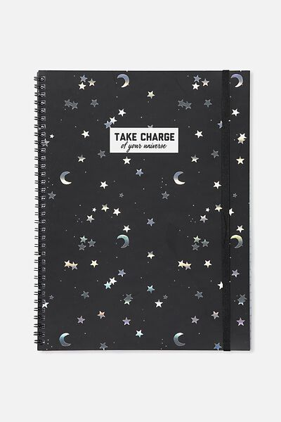 A4 Spinout Notebook - 120 Pages, BLACK STARS AND MOON