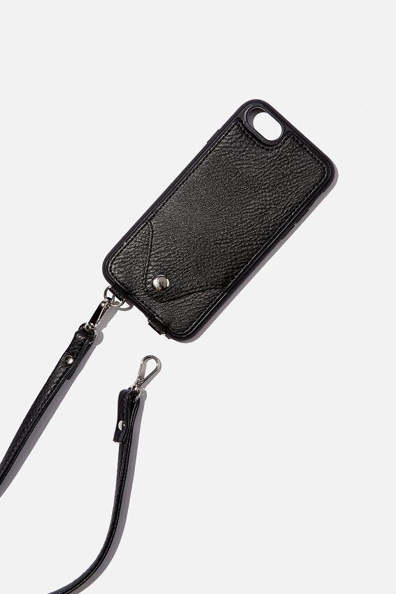 Pu Cross Body Phone Case Iphone 6, 7, 8, BLACK
