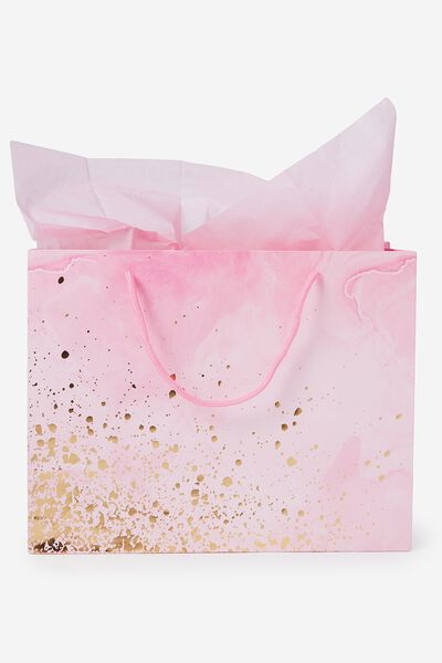 Stuff It Gift Bag Medium With Tissue Paper, PINK MARBLE