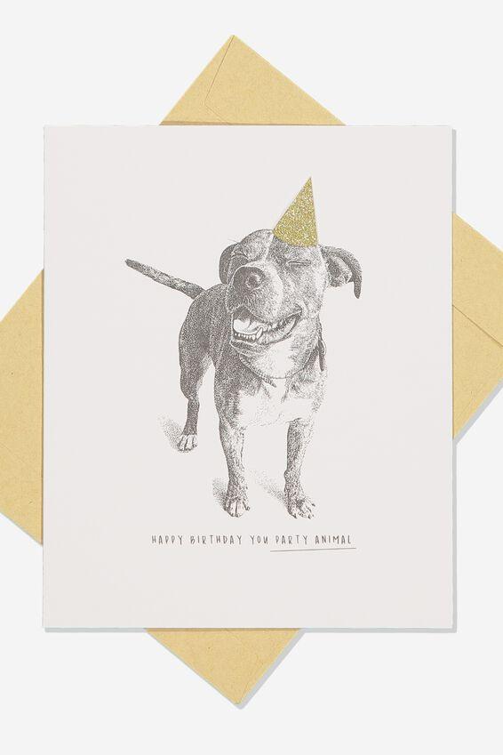 Premium Nice Birthday Card, GLITTER HAT DOG