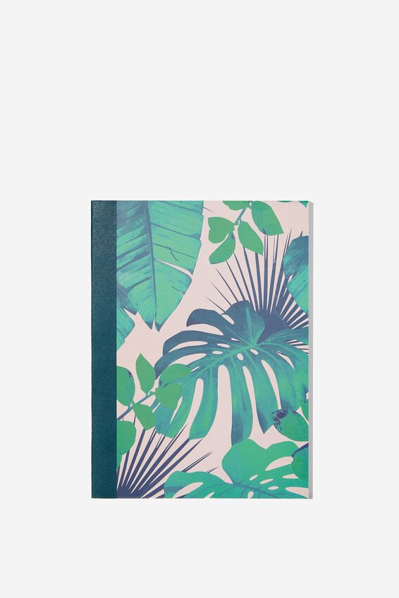 A5 Graduate Blank Notebook, PINK AND GREEN LEAF