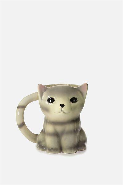 Novelty Shaped Mug, SITTING GREY CAT