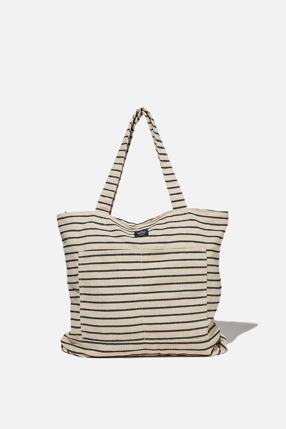 The Daily Tote Bag, NATURAL BLACK STRIPE
