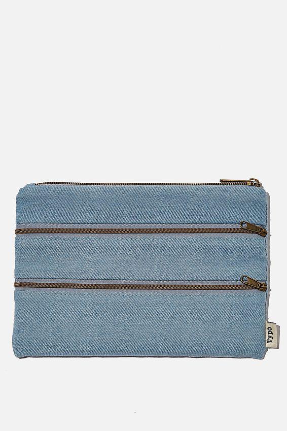 Double Archer Pencil Case, DENIM