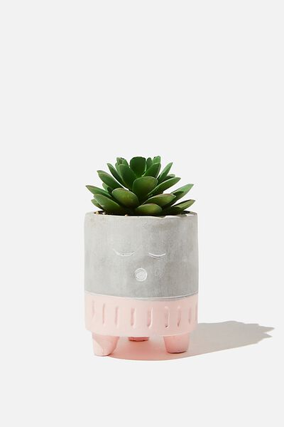 Tiny Planter With Plant, CEMENT & PALE PINK SLEEPY FACE