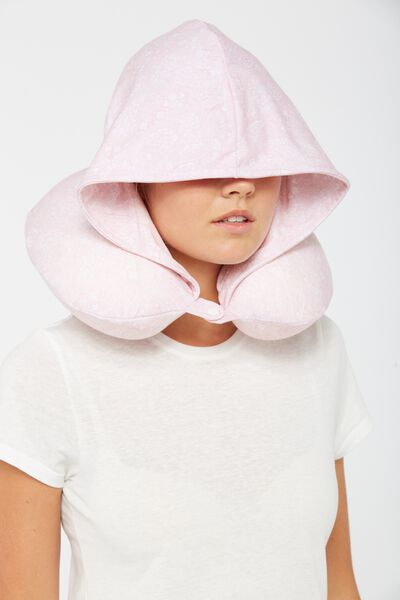 Hooded Travel Neck Pillow, BLUSH LACE