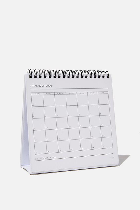 2020 Desk Calendar, WHITE MARBLE!