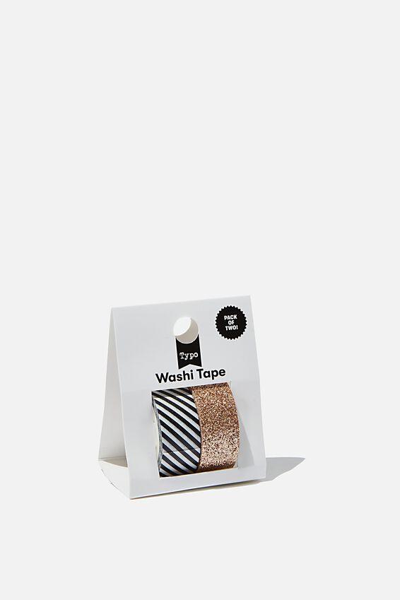Washi Tape 2Pk, STRIPE & GLITTER