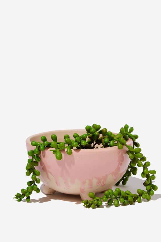 Small Shaped Planter, PINK SPLATTER TWO TONE