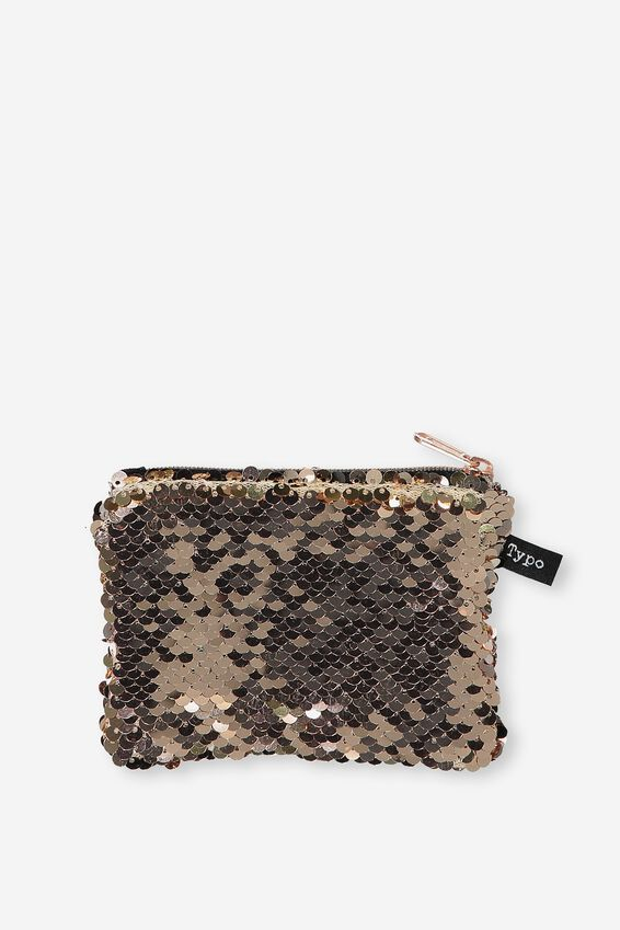 Penny Coin Purse, R GOLD SEQUIN