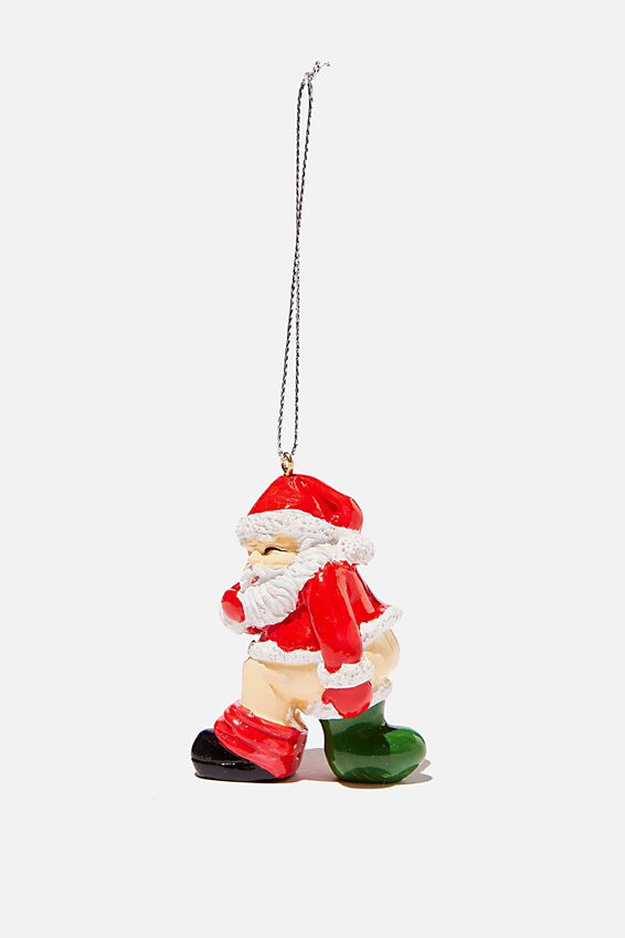 Resin Christmas Ornament, SANTA POOING IN STOCKING!