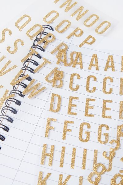 Alphabet Sticker Set, GOLD GLITTER