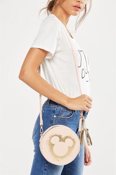 Round Cross Body Bag, LCN PINK MICKEY